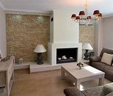 gestaltung wohnzimmer sandstein naturstein verblender