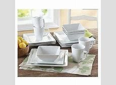 Square White Dinner Dishes Plates 16 Piece Porcelain