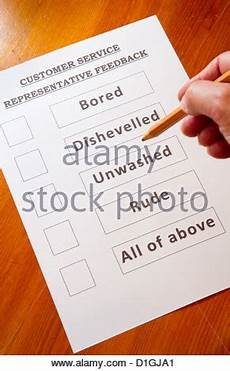 funny customer service feedback form with options for rating service 52610731 alamy