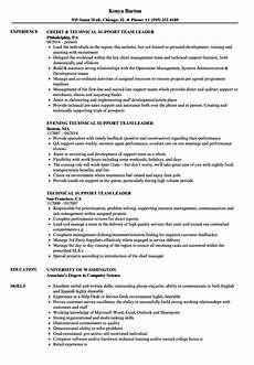 technical support team leader resume sles velvet