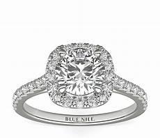 cushion halo diamond engagement ring in 14k white gold 1
