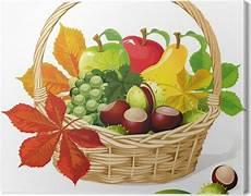 Malvorlagen Herbst Obst Leinwandbild Korb Mit Herbst Obst Und Gem 252 Se Isoliert
