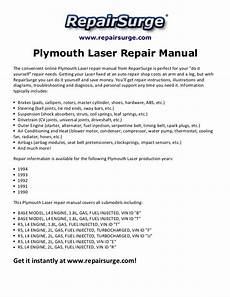 how to download repair manuals 1994 plymouth laser electronic toll collection plymouth laser repair manual 1990 1994