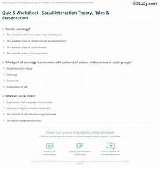 quiz worksheet social interaction theory roles