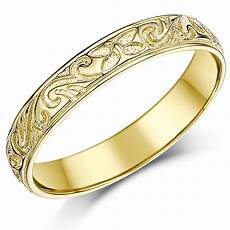4mm 9ct yellow gold swirl patterned wedding ring band