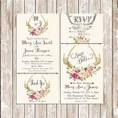 printable wedding invitation suite deer antler pink floral printable wedding invitation suite deer antler pink floral