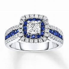 sapphire engagement ring 3 4 ct tw diamonds 14k white gold