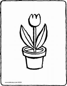 Ausmalbilder Blumen Im Topf Blumentopf Mit Tulpe Kiddimalseite