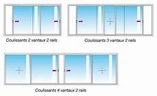 taille baie vitrée standard baie coulissante 3 vantaux 2 rails