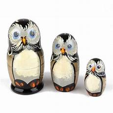 nesting dolls 3 pc owl stacking dolls the russian store