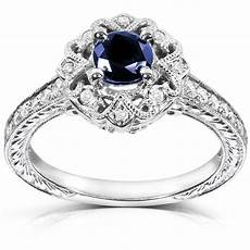 cut sapphire and diamond engagement ring 3 4