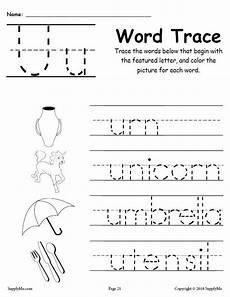 letter tracing worksheets u 23322 letter u words free alphabet tracing worksheet supplyme