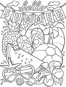 hello summer coloring page crayola