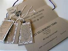 rustic shabby chic wedding stationery with brown card lace and luggage tags the natural