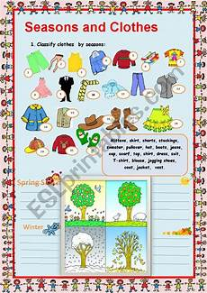 worksheets seasons and clothes 14754 clothes and seasons esl worksheet by myemma