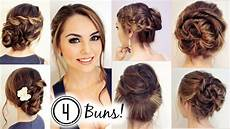 no heat hairstyles 4 unique buns jackie wyers youtube
