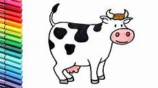 how to draw a cow color pages farm animals cartton