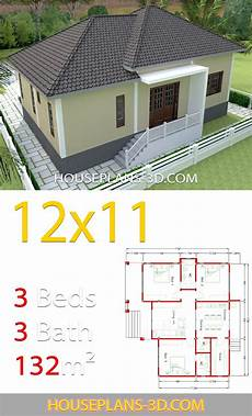 hipped roof house plans home design 12x11 with 3 bedrooms hip roof house plans 3d