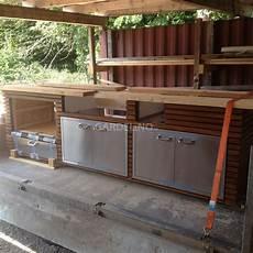 Outdoor Küche Holz - outdoork 252 che aus holz mit einbau gasgrill lynx grill