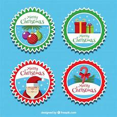 of merry christmas stickers in vintage style free vector