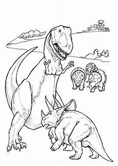 ausmalbild tyrannosaurus rex und eine herde triceratops