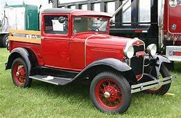 1931 Ford Pick Up Truck Red And Black With Wood Rails