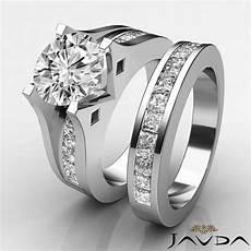 diamond channel engagement ring bridal h vs2 platinum 3 1 ct ebay