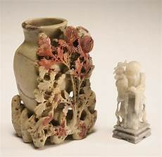 soapstone carving two antique soapstone carvings large vase with