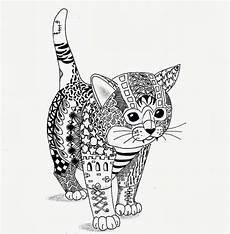 Katzen Ausmalbilder Erwachsene Un Chat Coloriage Divers Diverse Colouring