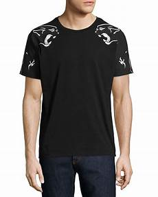 valentino panther print t shirt in black for lyst