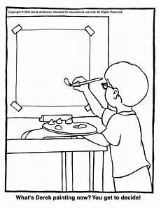 derek painting coloring page