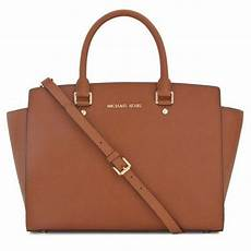 michael kors selma large top saffiano new with tags luggage brown gold tone hardware