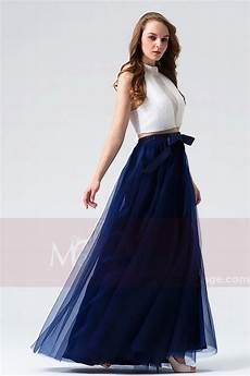 Robes Soir 233 E Blanc Et Bleu Marine Pour Bal Mariage En
