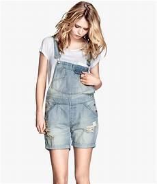 h m bib shorts in light denim blue blue lyst