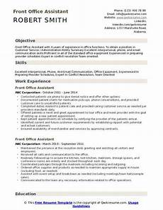 front office assistant resume sles qwikresume
