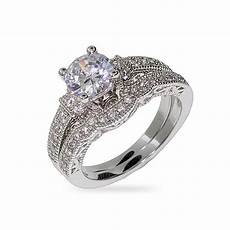 sterling silver cz wedding rings victorian style sterling silver and cz wedding ring set ebay