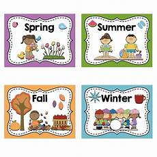 4pcs Set A4 Card Four Seasons Word Cards