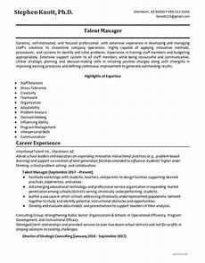 skills resume exle talent manager