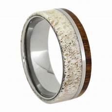 deer antler ring wood wedding band titanium ring with ironwood ebay