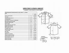 specification sheet spec sheet of a casual shirt