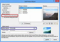 using captions in photo album presentations in powerpoint