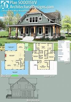 craftsman house plans with porches plan 500015vv craftsman with wrap around porch in 2019