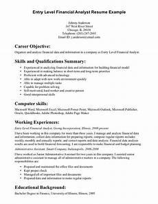 entry level financial analyst resume exle resume