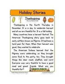 thanksgiving printable stories for 2nd grade second grade reading comprehension worksheet holiday