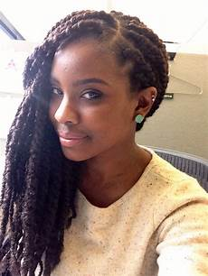 chunky twists using marley hair hairstyle for black