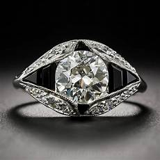1 66 carat art deco diamond and onyx engagement ring