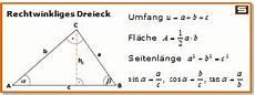 rechtwinkliges dreieck formeln flaeche umfang dreieck