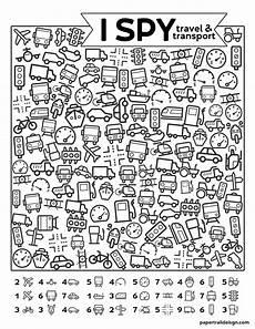 free printable i spy road trip activity travel transport paper trail design