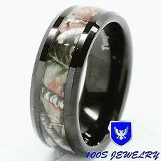 8mm mens tungsten ring real oak camouflage black plated wedding band size 8 16 ebay