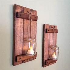 rustic wall decor wooden candle holder rustic jar